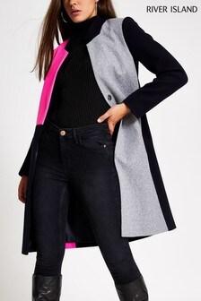 River Island Colourblock Windsor Collarless Coat