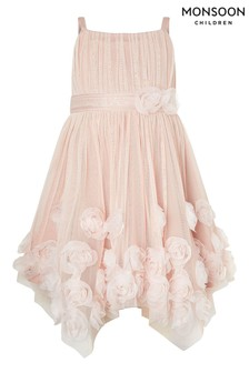 Monsoon Pink Cascade Roses Hanky Hem Dress