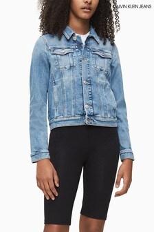 Calvin Klein Blue Monogram Denim Trucker Jacket