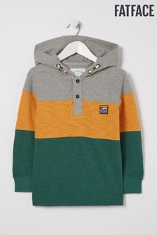 FatFace Grey Hooded Colour Block Rugby Top