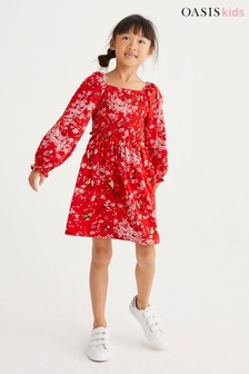 Oasis Gesmoktes Jerseykleid mit Vogelprint, Rot