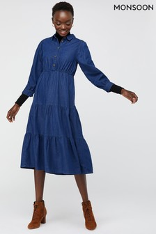 Monsoon Blue Tina Tiered Denim Dress
