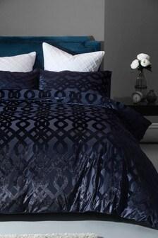 Velvet Jacquard Damask Duvet Cover And Pillowcase Set