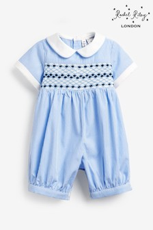 Rachel Riley Blue Stripe Smocked Romper