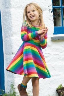 Frugi Skaterkleid aus Bio-Baumwolle mit ausgestelltem Rock und Regenbogendesign, Pink
