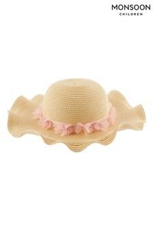 Monsoon大地色嬰兒Macaroon蝴蝶寬邊帽