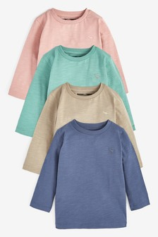 Набор из 4 однотонных футболок  (3 мес.-7 лет)