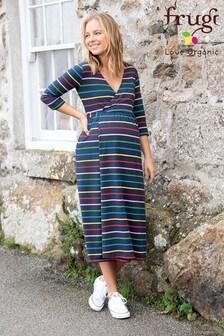 Frugi GOTS Organic Maternity and Nursing Wrap Dress - Navy Rainbow
