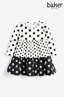 Baker By Ted Baker黑色/白色女嬰款斑點圖案層次連身裙