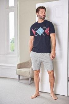 Argyle Pattern Short Pyjama Set