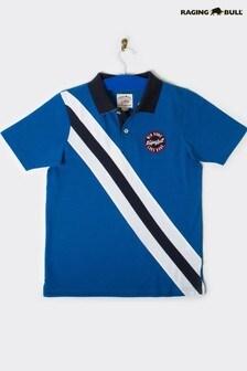 חולצת פולו עם פסים אלכסוניים של Raging Bull בצבע קובלט