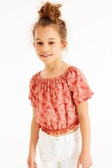 Блузка с принтом и помпонами (3-16 лет)