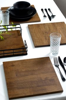 4 Wooden Bronx Placemats
