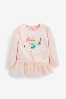 Mesh Hem Christmas Mouse T-Shirt (3mths-7yrs)
