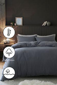 Grafitowy komplet pościeli z bardzo miękkiej 100% czesanej bawełny: poszwa na kołdrę i poszewka na poduszkę
