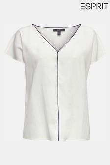Esprit Kurzärmelige Bluse mit schwarzer Paspelierung und V-Ausschnitt, Natur