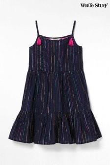 White Stuff Funkelndes Sommerkleid aus Webstoff für Kinder, blau