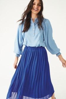 חולצת TENCEL™ עםשרוול בלון וכיווצים