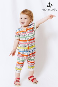 Noé & Zoë Cream Multi Footless Babygrow