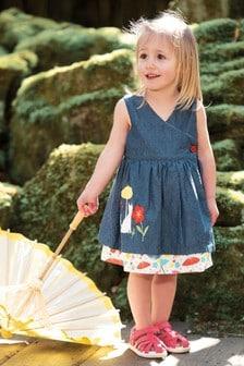 שמלה דו-צדדית בהדפס מטריות מכותנה אורגנית GOTS של Frugi
