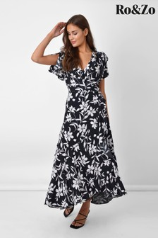שמלת מידי מעטפת עם שרוך קשירה בשחור שלRo&Zo