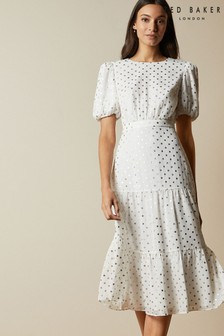 Ted Baker Mariani Fleck Detail Tiered Midi Dress