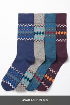 Twist Fairisle Pattern Heavyweight Socks Four Pack