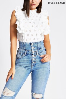 River Island White Broderie Shirred Neck Top