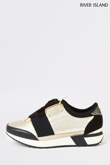 River Island Gold Echo Runner Trainers