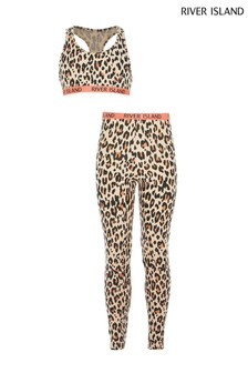 River Island Beige Leopard Crop And Legging Set