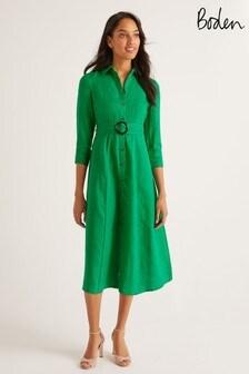 Vestido camisero de lino en verde Olivia de Boden