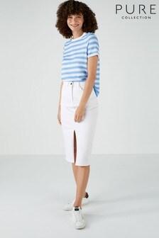 Pure Collection White Denim Midi Skirt