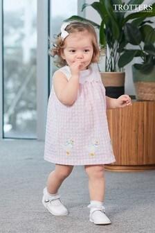 Trotters London粉紅色花瓣鴨子圖案連身裙