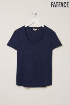 חולצת טי של FatFace דגם Lucy מפשתן בצבע כחול