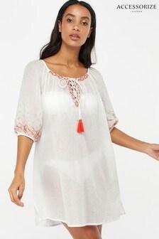 Accessorize Evie Langärmeliges besticktes Kleid, Weiß