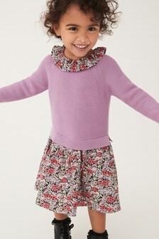 Текстильное комбинированное платье с воротником (3 мес.-7 лет)