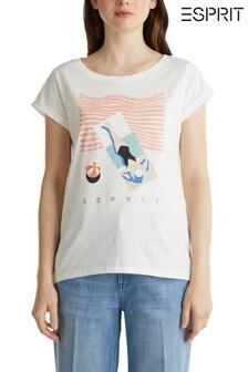 Бежевая летняя футболка Esprit