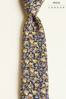 Moss London Navy With Small Gold & Beige Rose Print Tie