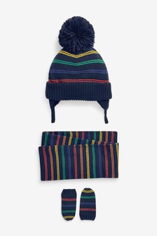 3 Piece Hat, Gloves And Scarf Set (Younger)