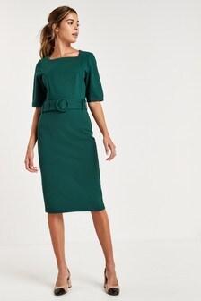 Облегающее платье из плотного трикотажа