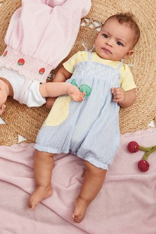 Seersucker Lemon Dungarees And Bodysuit Set (0-18mths)