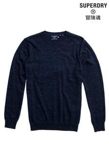 Námořnicky modrý pletený svetr s kulatým výstřihem Superdry