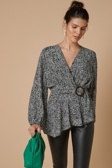 Printed Wrap Top With Buckle