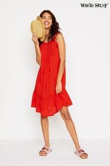 White Stuff紅色Sea Lily刺繡皺摺洋裝