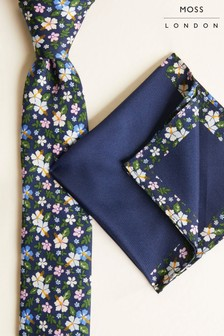 Moss London Navy With Flower Print Tie & Pocket Square Set