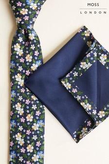 Súprava tmavomodrej kravaty s kvetinovou potlačou a vreckovky do saka Moss London