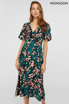 Monsoon Teal Allegra Animal Print Tea Dress