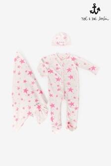 Noé & Zoë Neon Pink Stars Baby Gift Set
