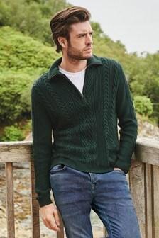 Sweter ze ściegiem warkoczowym i suwakiem przy dekolcie