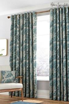 Helena Springfield Paloma 植物圖案附襯裡金屬環窗簾